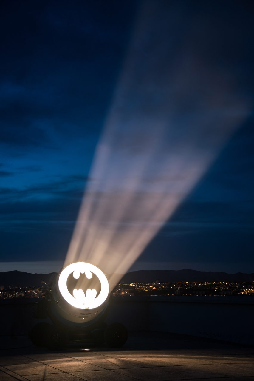 Bat Signal by Alex Israel on roof of Le Corbusier's Cité Radieuse in Marseille