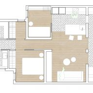 Ground floor plan of Caldrap Barcelona Apartment by Nook Architects