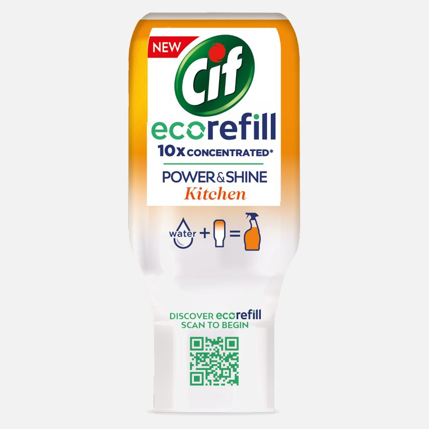 Cif spray bottles can be refilled with ecorefill cleaning concentrate