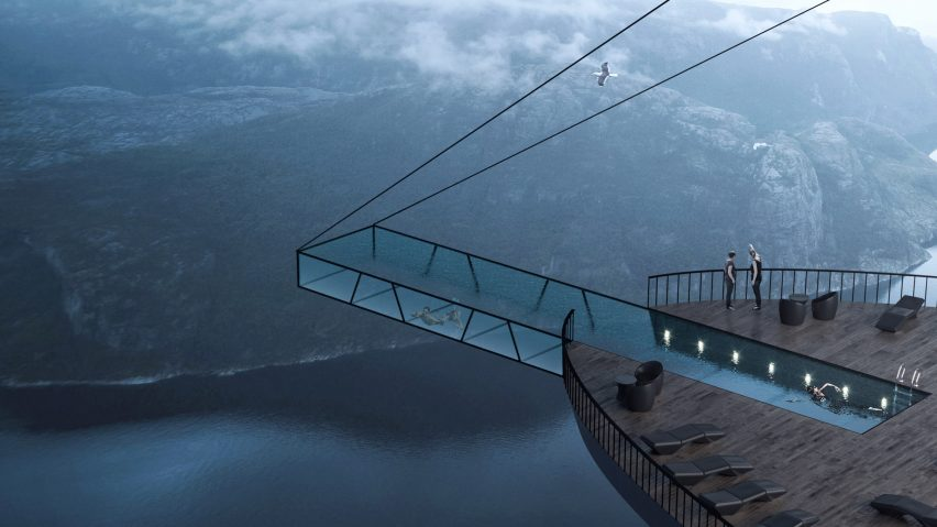 Cliff Concept Boutique Hotel with cantilevered swimming pool by Hayri Atak Architectural Design Studio in Norway