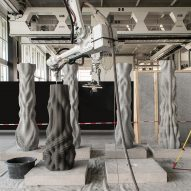 Students' 3D-printed Concrete Choreography pillars provide a stage for dancers