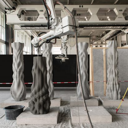 Concrete Choreography 3D-printed pillars by students at ETH Zurich