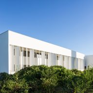White concrete shutters front Brazilian university building