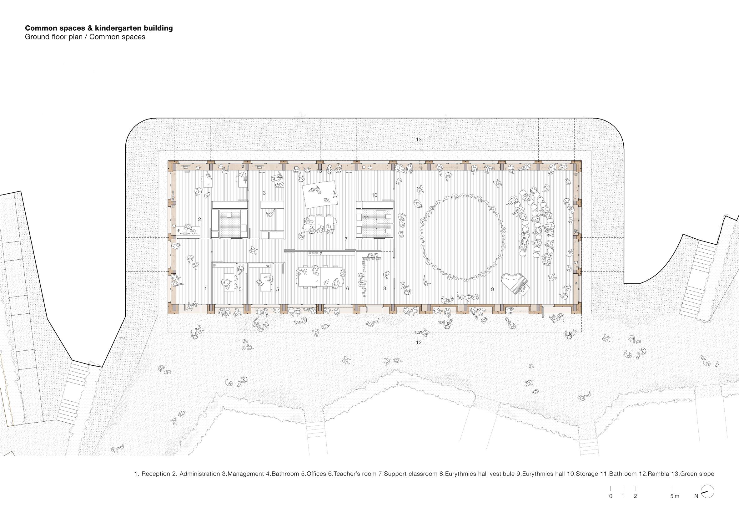 Prefabricated pine panels clad concrete kindergarten near Barcelona