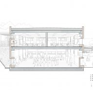 Perspective cross section through common area and classroom of Ground floor classroom plan of El Til-ler Kindergarten School by Eduard Balcells, Ignasi Rius and Daniel Tigges