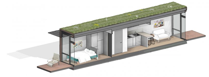 Shipping container micro homes with green roofs designed by Fraser Brown MacKenna Architects