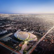 "AECOM designs LA Clippers sports complex to resemble a ""basketball swishing through a net"""