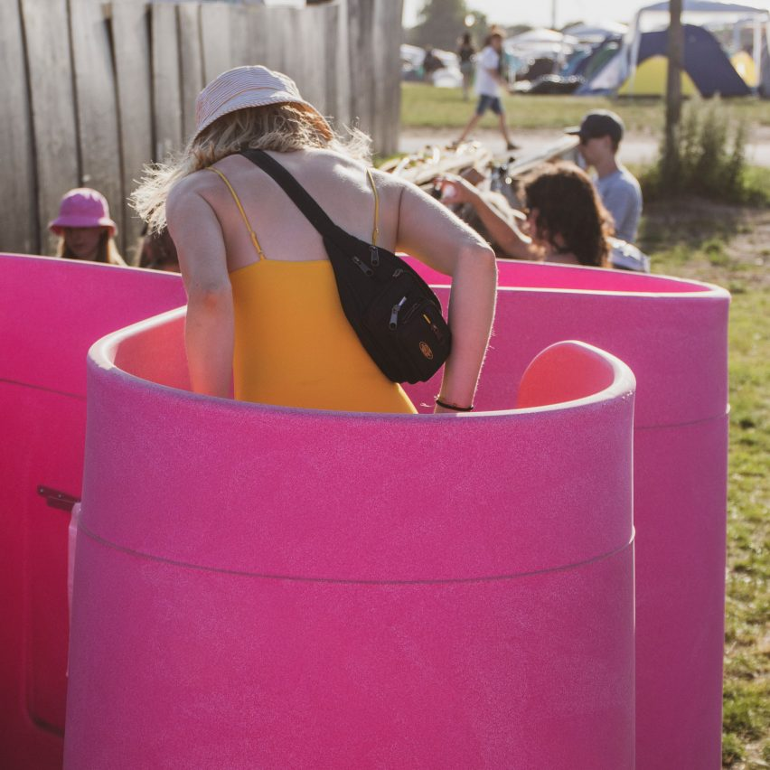 Lapee is an industrial-standard female urinal for festivals and outdoor events that allows people who need to pee sitting down to do so quickly and safely.