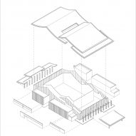 Exploded structural diagram of Detail of Multi-purpose hall in Shaoxing Hotel by Architectural Design and Research Institute at Zhejiang University UAD