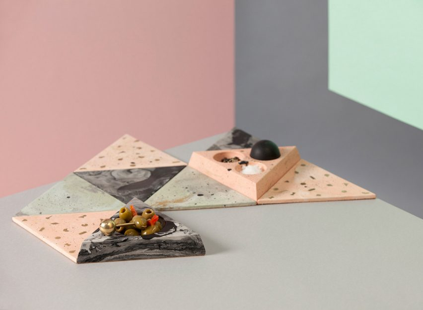 Abigail Surface Tiles and Condiment Set by Jennifer Gray