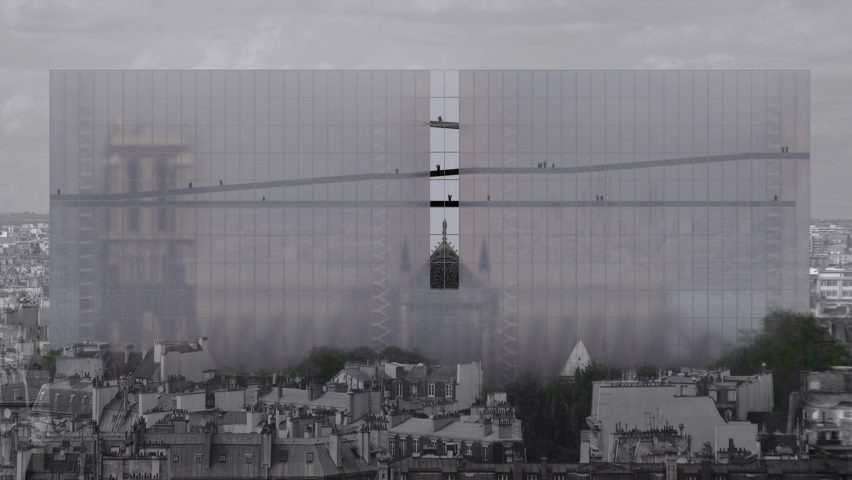 Soltani+LeClercq proposes shrouding Notre-Dame in a veil