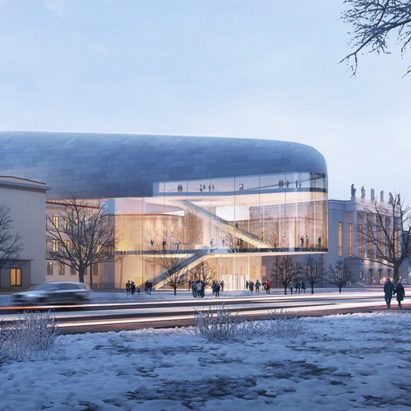 A zinc-clad concert hall by Steven Holl Architects and Architecture Acts will cantilever over the 1960s modernist House of Culture in Ostrava, Czech Republic.