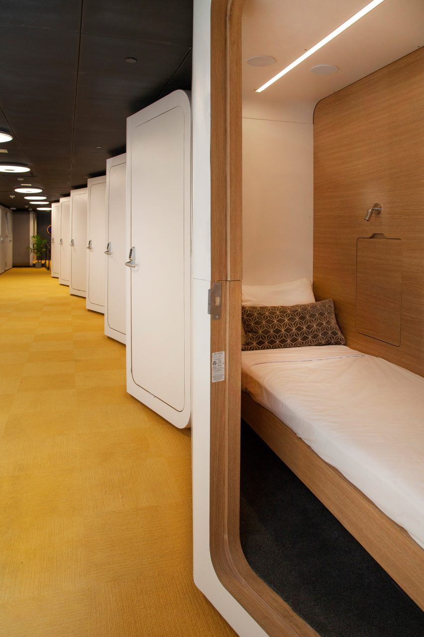 Sleepbox pods at Dulles International Airport by Arch Group