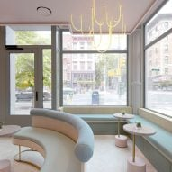 New Practice Studio colours minimal tea shop Spiritea with pastels in Manhattan