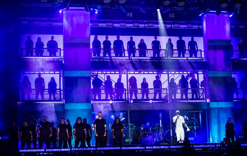 """Creative directors """"took south London to the farm"""" for Stormzy's Brutalist-inspired Glastonbury set"""