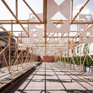 Anthony Burrill's graphics top delicate timber rooftop pavilion in Barcelona