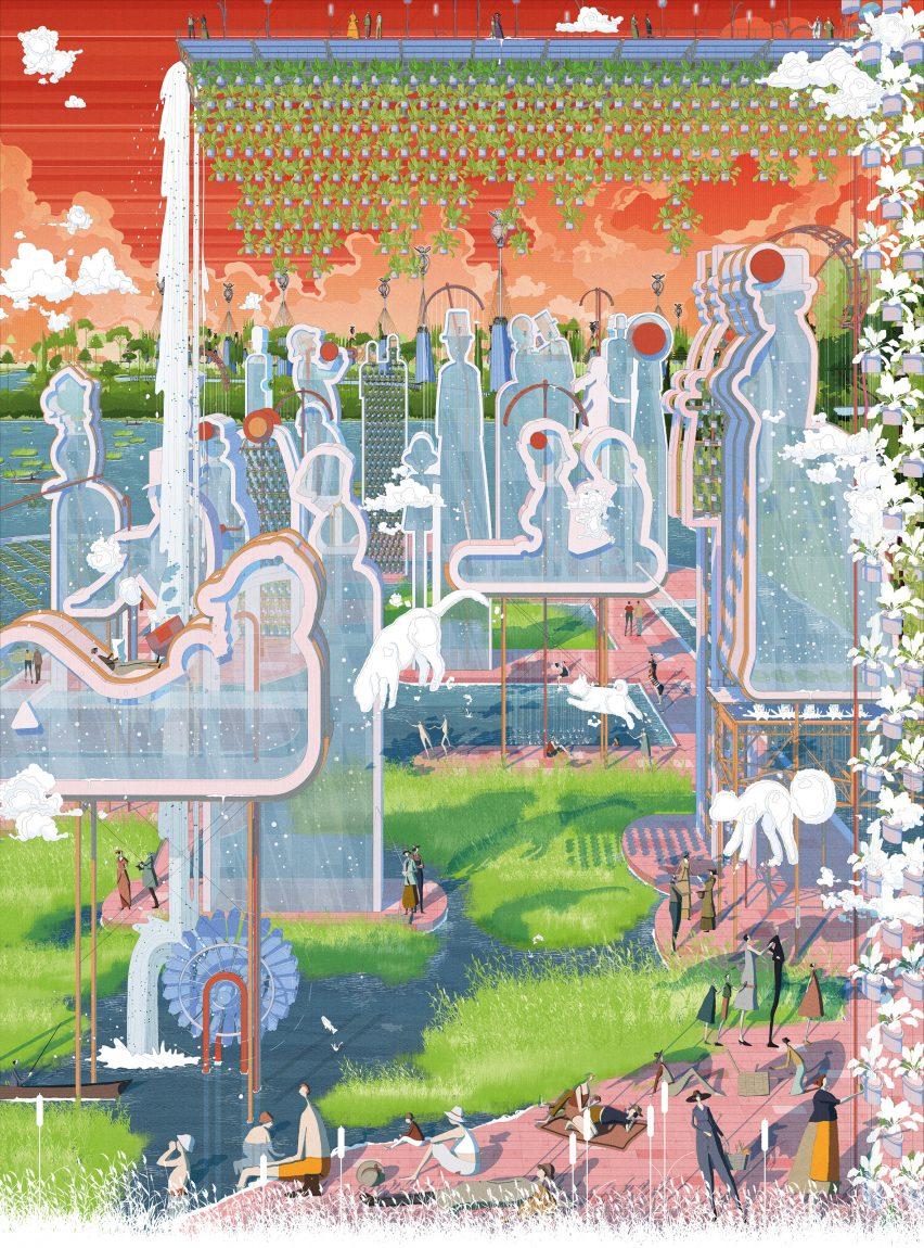 The Gift masterplan for Paris, Texas, by Bartlett graduate Vilius Vizgaudis