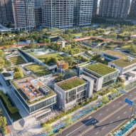 Vanke Design Community is cluster of workspaces topped by parks