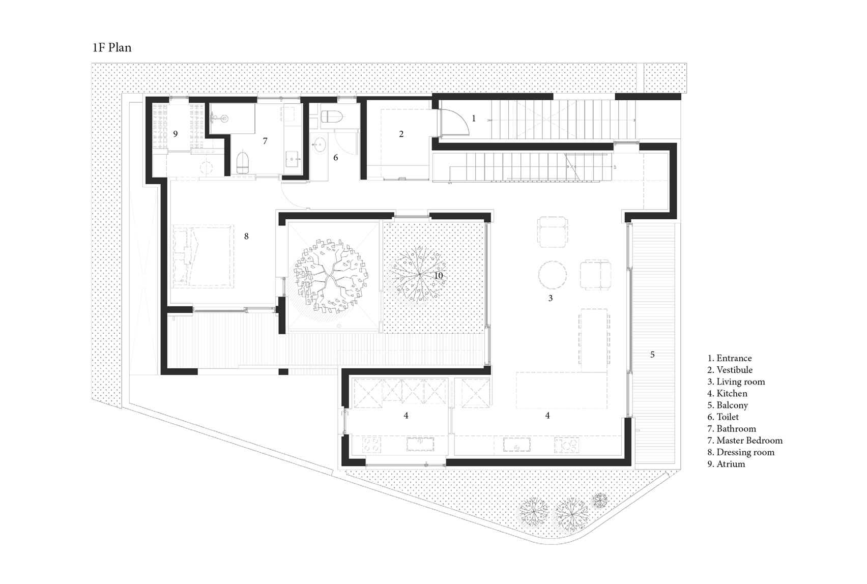 Plan Dressing En U augmented reality architects wraps house with courtyards to