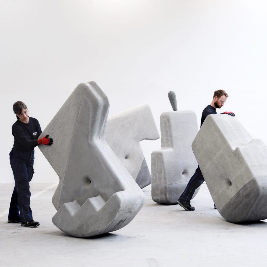 Brandon Clifford creates heavy concrete sculptures that sway and roll