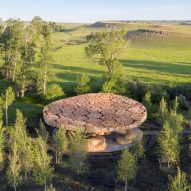 Diébédo Francis Kéré bundles logs to form roof of Tippet Rise Art Center pavilion