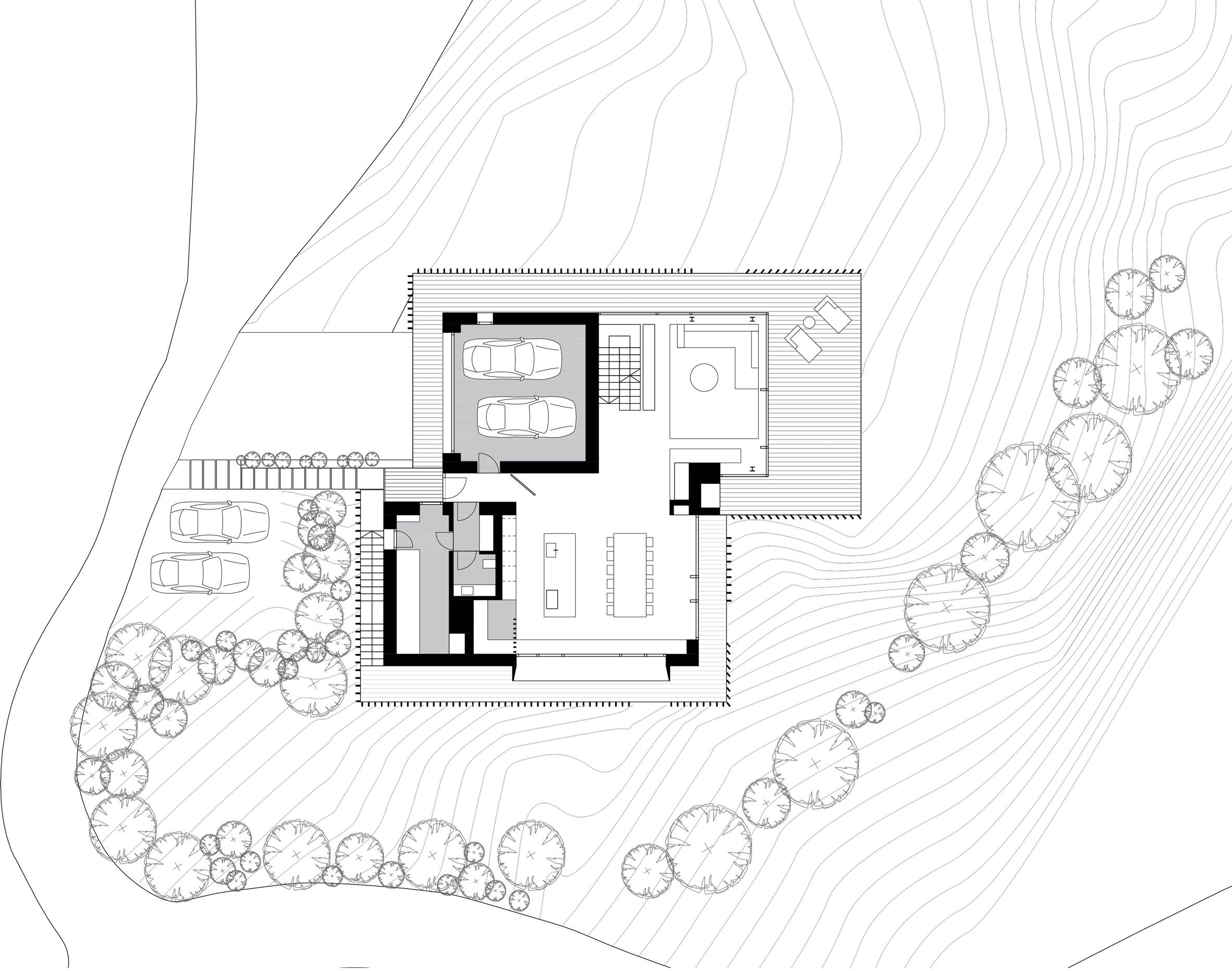 Geza designs gabled house on an Alpine hillside shielded by ... on floating dock plans, vardo camper plans, new house design plans, biltmore estate elevation plans,