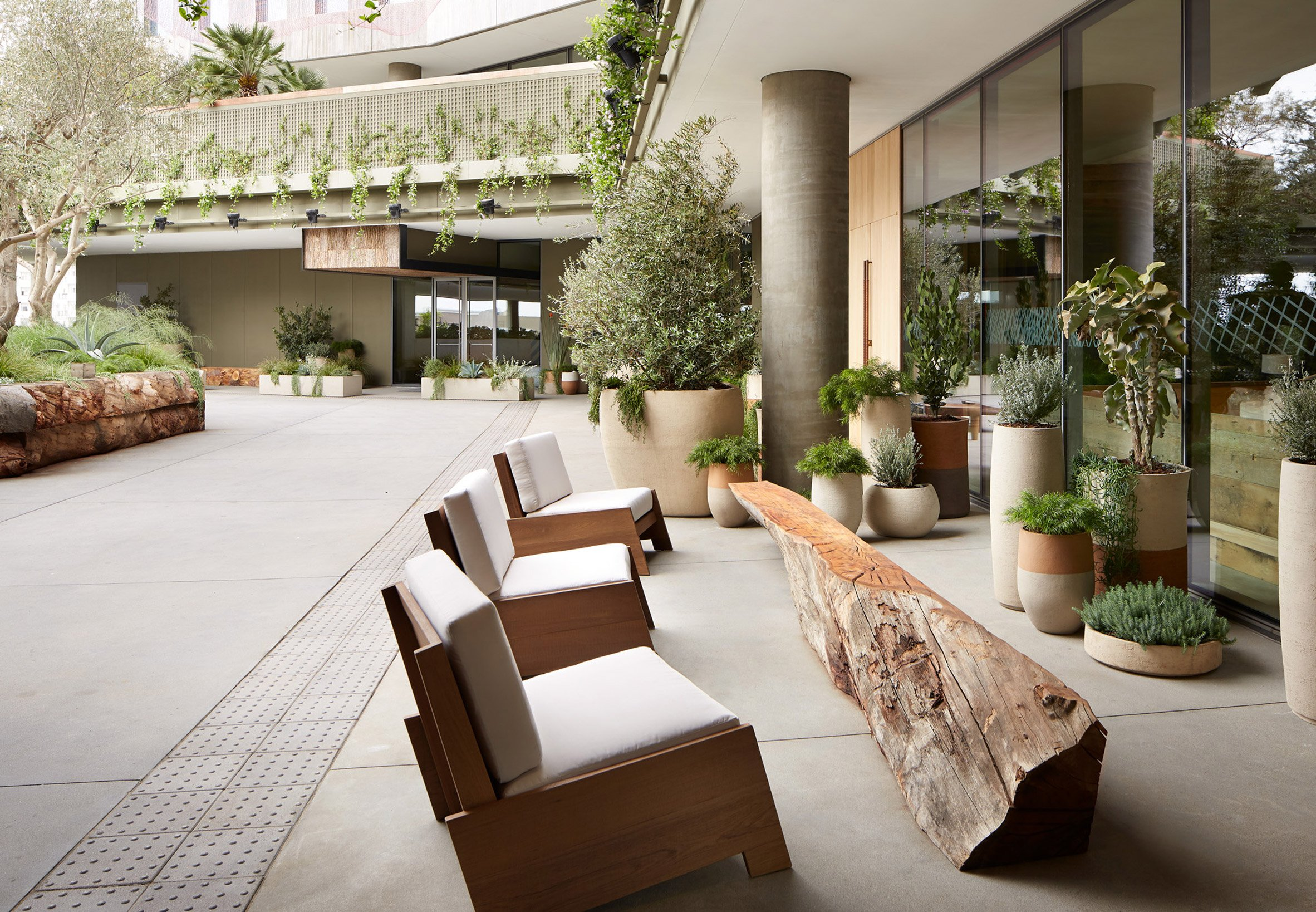 Lush courtyards surround 1 Hotel West Hollywood in Los Angeles