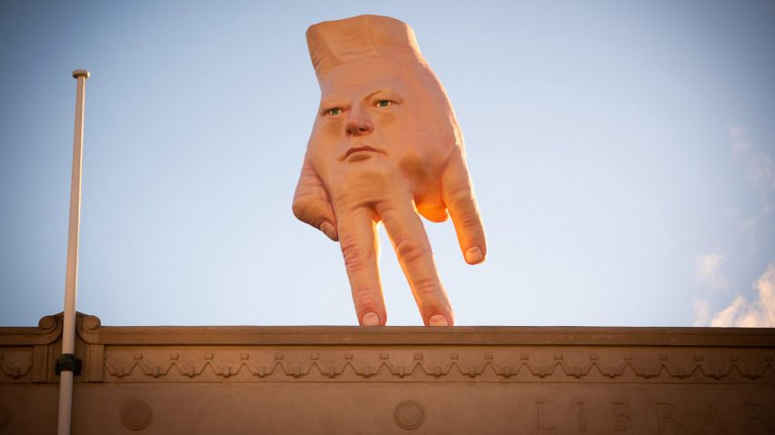 Quasi Ronnie van Hout hand sculpture
