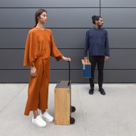 Charles Simon creates boxy wooden luggage influenced by aeronautical design