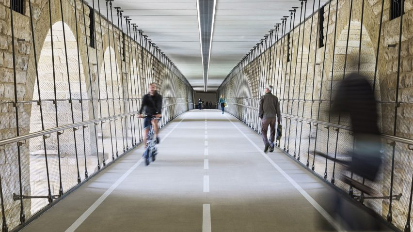 Pedestrian and cycle footbridge under the Adolphe Bridge, Luxembourg City, Luxembourg, byCBA Architects