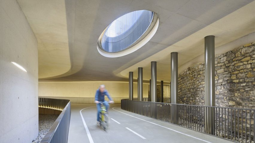 Pedestrian and cycle footbridge under the Adolphe Bridge, Luxembourg City, Luxembourg, by CBA Architects