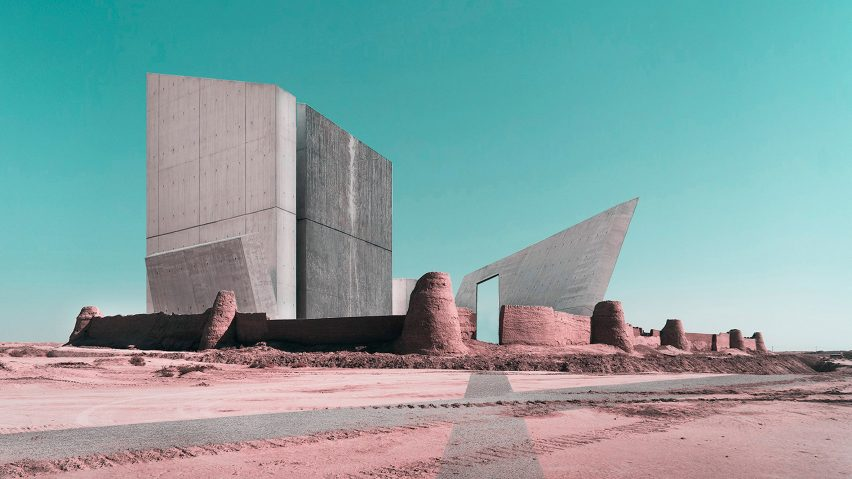 photomontages combining Iranian archaeological sites with contemporary buildings
