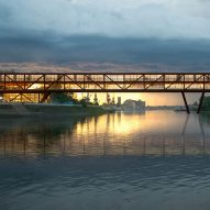 Elbow Shadow bridge in Serbia by ARCVS will double as an office and hotel
