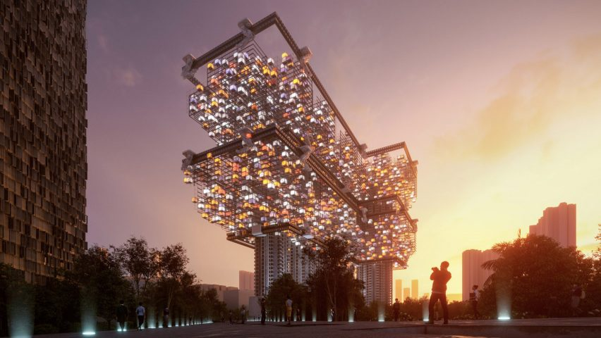 IAAC graduates propose parasitic pods as alternative to cage homes in Hong Kong