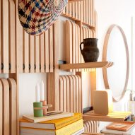 Gate furniture system comprises flip-down shelves that are easy to reconfigure