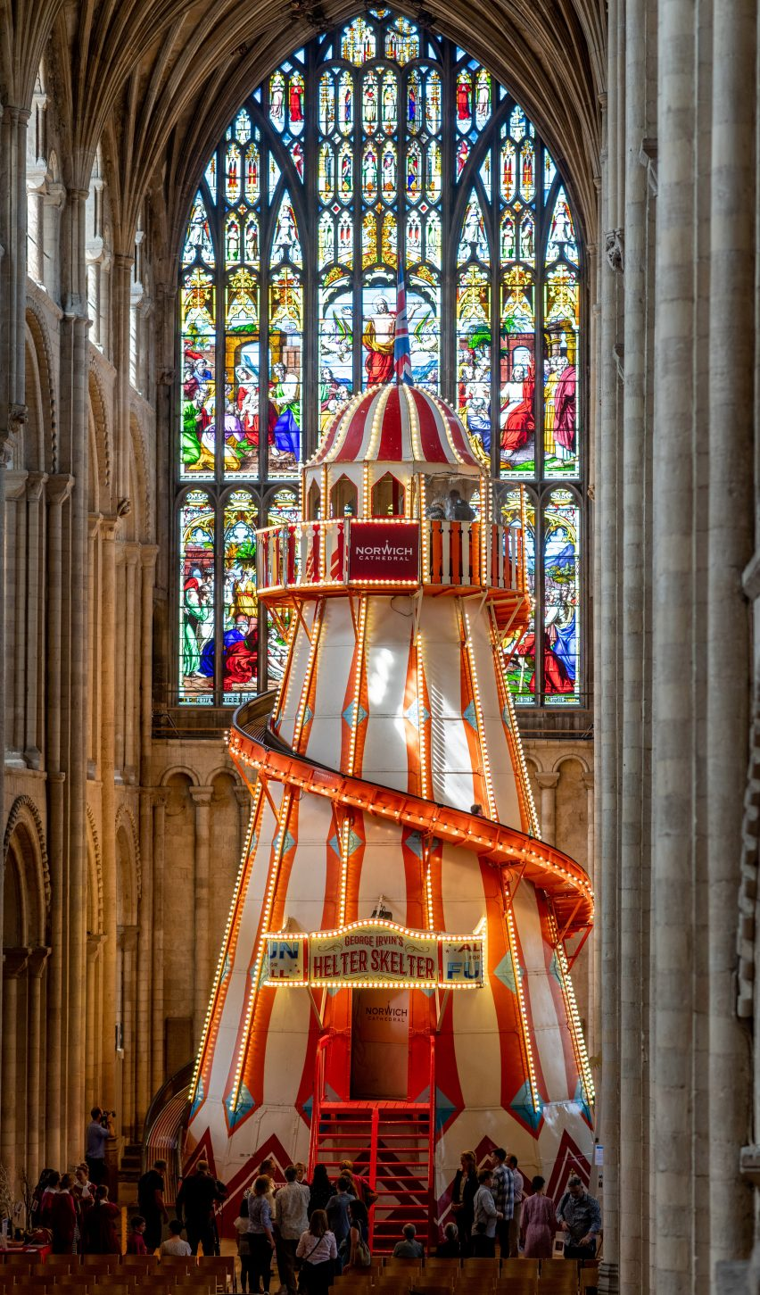 Helter skelter in Norwich Cathedral as part of its Seeing It Differently campaign