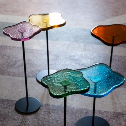Lily cocktail table with Murano glass top by Tom Faulkner