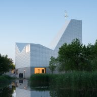 Meck Architekten designs asymmetric ceramic-clad church in Poing