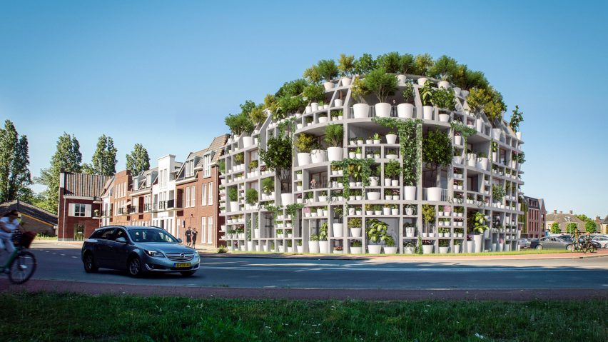 Living facade of plant pots will cover Green Villa by MVRDV in the Netherlands