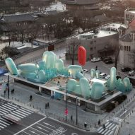 SKNYPL designs inflatable rooftop garden for busy Seoul street