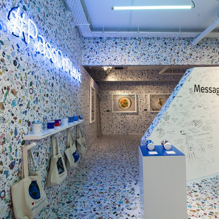Shed prints plastic pollution on walls to highlight the problem of ocean waste