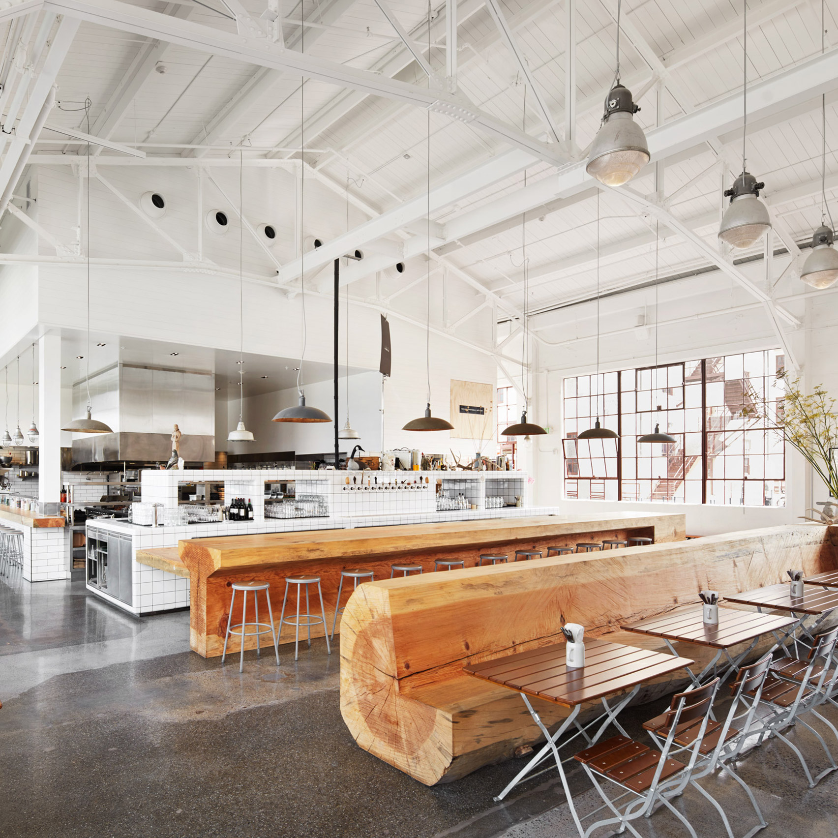 Huge Salvaged Trees Form Benches In San Francisco Restaurant