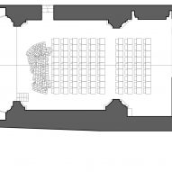 Ground floor plan of Renovation of Saint Rocco's Church into a theatre by Luigi Valente and Mauro di Bona