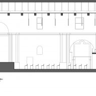 Section A-A of Renovation of Saint Rocco's Church into a theatre by Luigi Valente and Mauro di Bona
