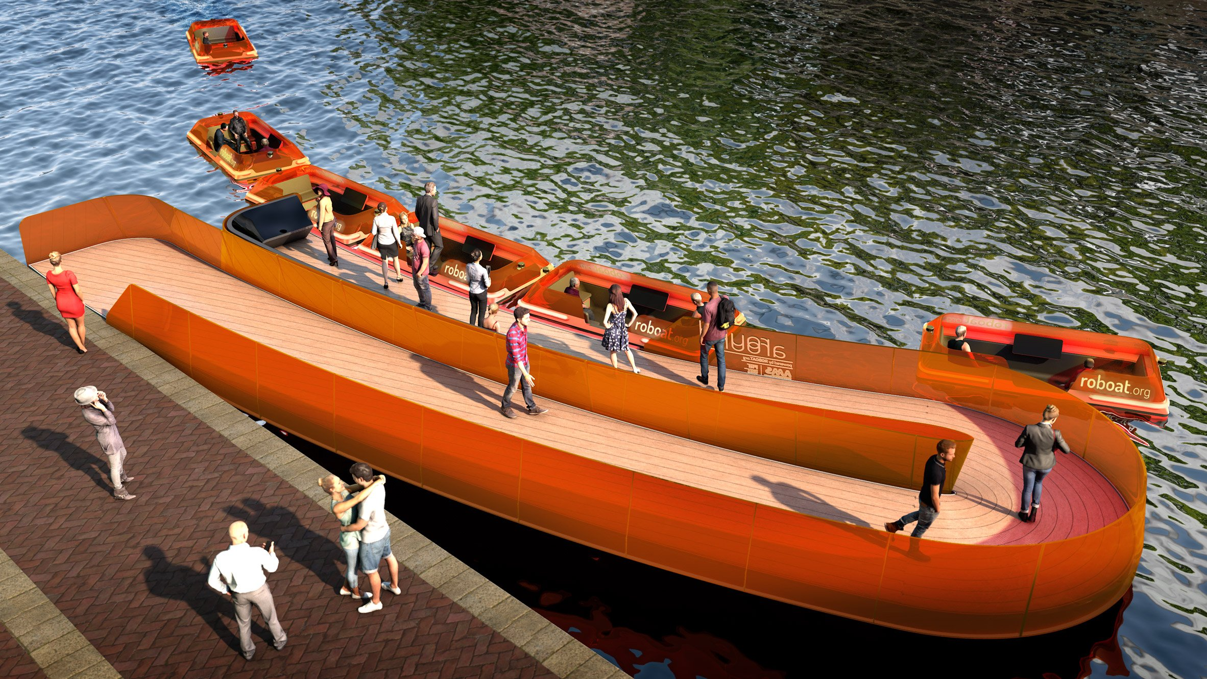 RoundAround Roboat bridge by Carlo Ratti and MIT Senseable City Lab