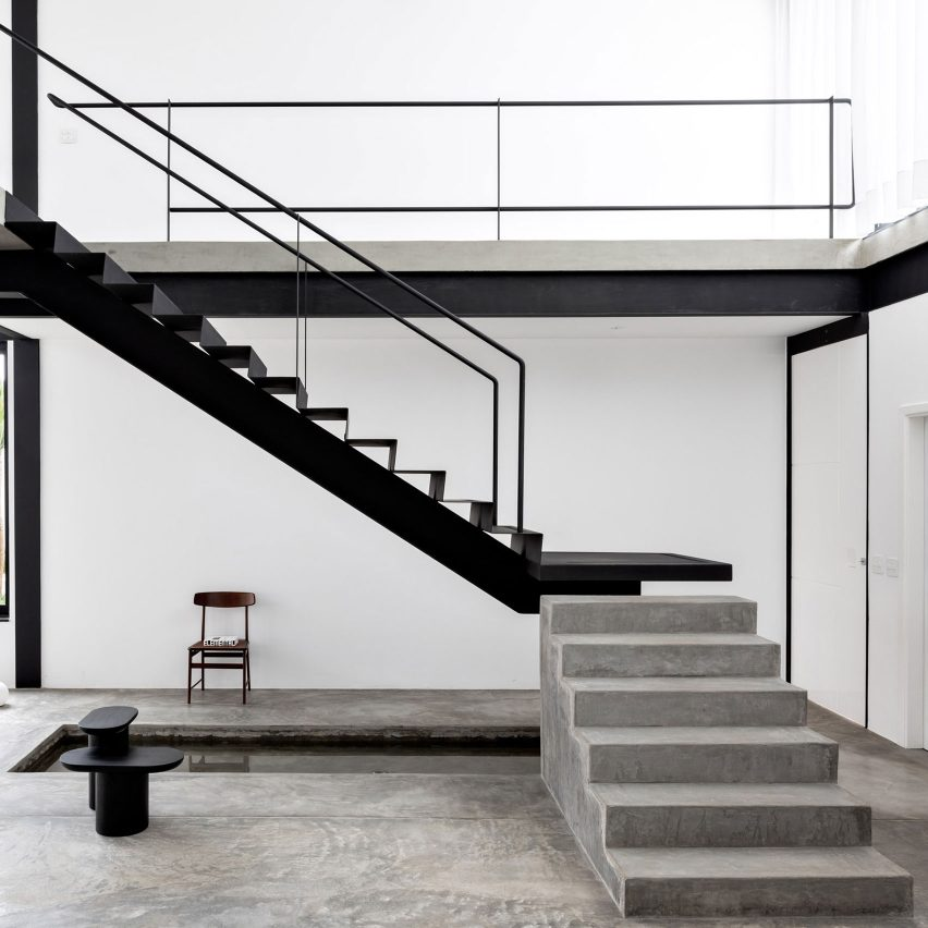 Minimal black and white Brazilian home by Estúdio BG draws on Bauhaus concepts