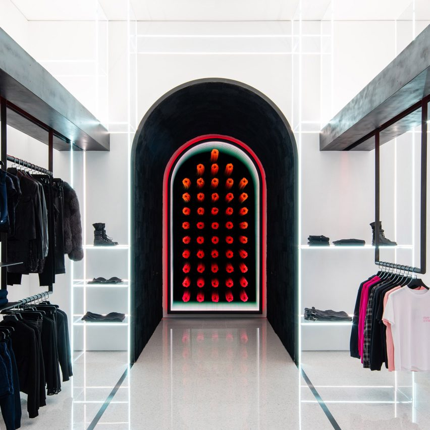 Delicate glass shelves illuminate Las Vegas boutique by Dan Brunn Architecture