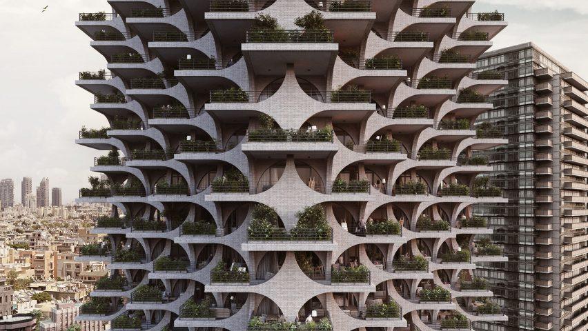 Tel Aviv Arcades renders by Penda vertical gardens Pinterest