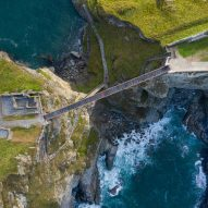 Tintagel Castle Bridge in Cornwall has a gap where it meets in the middle