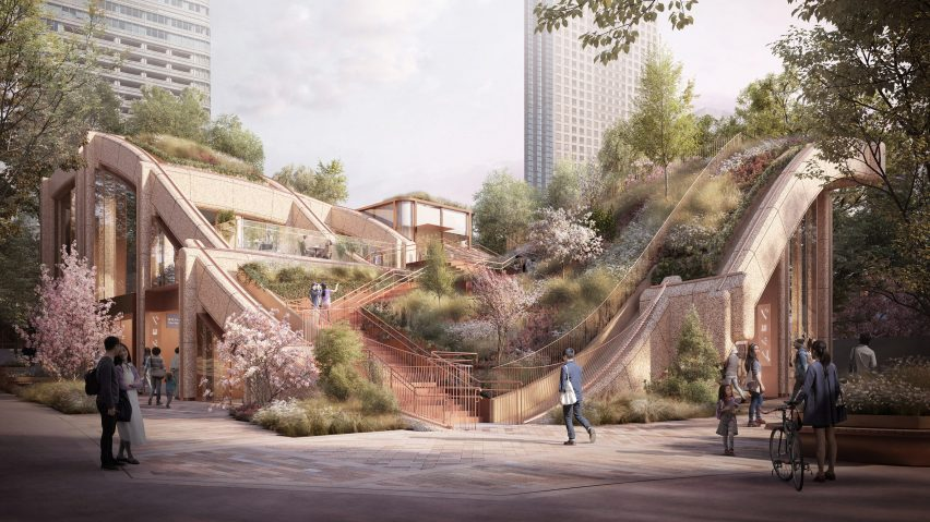 Heatherwick Studio reveals designs for gigantic planted pergola in Tokyo